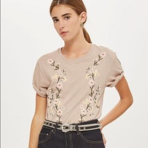 Top Shop Floral Embroidery T Shirt